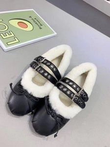 Wholesale new arrival fashion women plush pump sheepskin casual shoes belt buckle soft ballet shoes bowknot genuine leather dress shoes