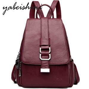 Wholesale Women Leather Backpacks Vintage Female Shoulder Bag Sac a Dos School Bags For Girls Mochilas Multifunction Traveling Backpack