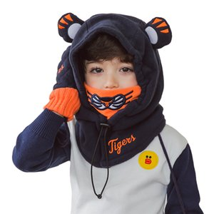 Wholesale Cute Cartoon Children Winter Animal tiger Masks Hats Kids Baby Thermal Fleece Face Beanies Warmer hats thick Hat gloves set NM