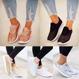 Vulcanized Shoes Woman Sneakers Trainers Sequined Glitter White Sneakers Sparkly Ladies Casual Shoes Bling flat D30