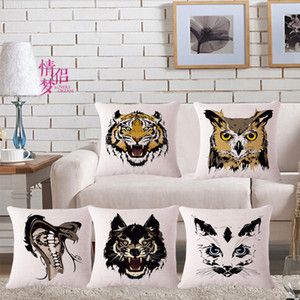 Hand Animal Tiger, Snake, Wolf, Cotton And Hemp Flax Pillow Back Cushion Cushion Backrest Loose Coat on Sale