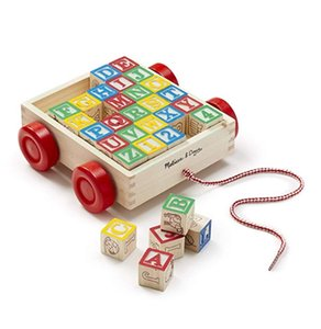 Wholesale Melissa Doug Classic ABC Wooden Block Cart Educational Toy With Solid Wood Blocks Smart toys over years old