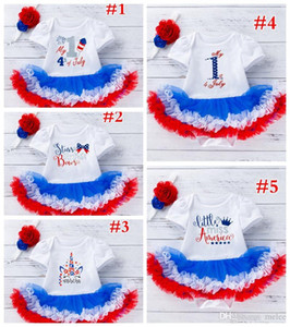 4th of July unicorn kids blue red tutus dress rompers & flower bow headband 2pc set 5styles choose free