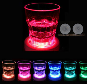 Wholesale LED Sticker Coaster Discs Lights Wine Liquor Bottle Clear Glass Cup Coaster with M sticker for party wedding occassions birthday decoration