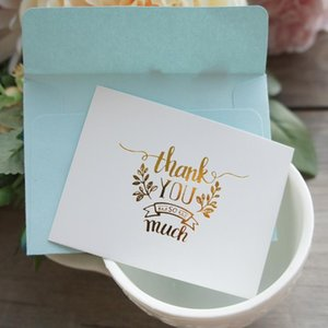 Wholesale message love for sale - Group buy 25pcs Mini thank you Card gold with blue envelope leave message cards Lucky Love valentine Christmas Party Invitation Letter