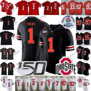 Wholesale 2019 Ohio State Buckeyes #1 Justin Fields #2 JK Dobbins #15 Elliott Dwayne Haskins Jr. Nick Bosa OSU Rose Bowl NCAA 150TH Jersey