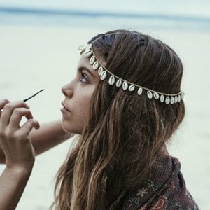 Summer Beach Golden Metal Head Chain Hairband Indian Shell Tassels Headband Women Wedding Bridal Hair Jewelry Accessories