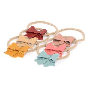 Wholesale 6 Colors Handmade Baby Nylon Headband inch Faux Leather Bow Stretchy Hair Accessory for Baby Newborn Infant Kids HS023