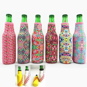 Wholesale Lilly Bottle Wrap Neoprene Beer Cooler Baseball Jewel Coral Rose Mucho Printing Can Cover Bags Kitchen Tools ML HH7