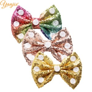 Wholesale pparel Accessories Headwear pc White Dot Sequins Hair Bow Colors DIY Chic Sequin Bow Hairgrips Headband Hair Accessories For