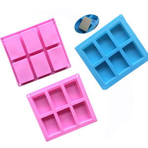 Wholesale silicone soap molds Cavity Hole Rectangle DIY Baking Mold Tray Handmade Cake Biscuit Candy Chocolate Moulds Non stick baking Tools