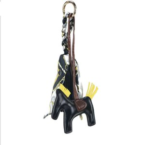 Wholesale Famous Brand Cute Luxury Sheep Skin Handmade Genuine Leather Horse Keychain Pendant Animal Key Chain Women Bag Charm AccessoriesSH190724