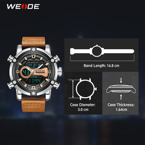 Wholesale man lcd watches resale online - 2021 WEIDE Watch Men New European Luxury Men Sports Business Quartz Movement Analogue LCD Digital Calendar Multiple Time Men Watch