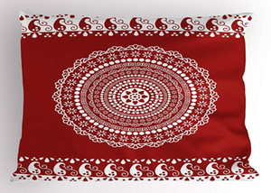 Wholesale Red Mandala Pillow Sham Traditional Ethnic Asian Paisley Design with Side Frame Borders Image Decorative Standard Size Printed Pillow Case