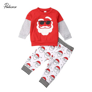 Wholesale 2019 Brand Toddler Kids Baby Boy Girl Christmas Santa Sweatshirt Tops Cartoon Pants Outfits Clothes Casual Children Set Costume