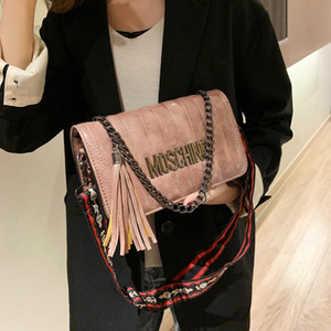 New Handbag Plain ladies Tassel bag Fashion Plaid chain bags ladies shoulder bag Stripes Fashion bag Wide Strap bags jiujiuchaobao 1