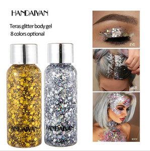 Wholesale Handaiyan Glitter Body gel Glitter Gel Face Hair Nail Eye glow for Art Flash Loose Sequins Cream Party Makeup Festival Eye Shadow