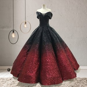 Wholesale Luxury Gradient Color Sequins Ball Gowns Quinceanera Dresses Off The Shoulder Ruched Sweep Train Princess Floor Length Evening Prom Dresses