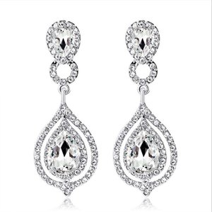 Wholesale earring pierce resale online - Shining Crystals Earrings Rhinestones Long Drop Earring For Women Bridal Jewelry Wedding Gift For Bridesmaids In Stock Cheap Whole Sale