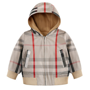Wholesale plaid jacket 2019 New Autumn Winter kids designer long sleeve plaid jacket thick warm zipper coat girls high quality cotton hoodie outwear