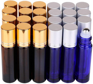 Wholesale 24 Pack ml Thick Glass Roller Bottles with Big Steel Ball Roll on Bottle for Essential Oil Perfume Droppers Opener