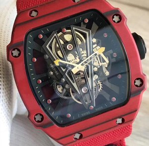 Wholesale Top Brand Luxry 27-03 NTPT Carbon Fiber Red Case Skeleton Perspective Automatic Mens Fashion Watch Ribbon Nylon Strap Casual Men Wristwatch