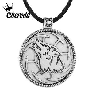 Wholesale Chereda Wolf Sunwheel Bronze Vintage Necklace for Men Metal Slavic Pagan Punk Pendant Bar Friendship Jewelry Gift