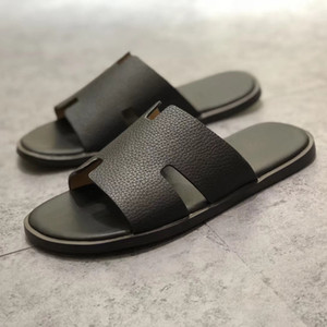 Wholesale New designer Men s half slipper Genuine Leather European Cowhide style sandals new men shoes loafers Large size slippers Size