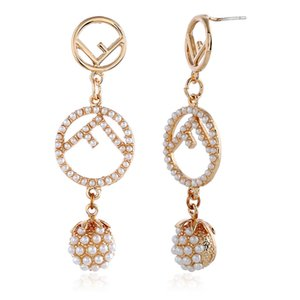 Wholesale Euro American Long style pendant net with diamond earrings and red pearl earrings with fashionable letters