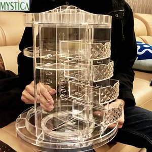Wholesale New degree Rotating Drawer Makeup Storage Box Brush Holder Jewelry Organizer Case Transparent Acrylic Cosmetic Organizer Box Q190430
