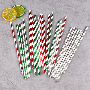 Wholesale Striped Paper Straws Drinking Paper Straws Christmas Drink Straw for Wedding Party Decoration