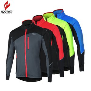 Wholesale ARSUXEO Winter Thermal Fleece Windbreak Waterproof Reflective Cycling Jacket MTB Bike Windproof Cycling Clothing Bicycle Coat