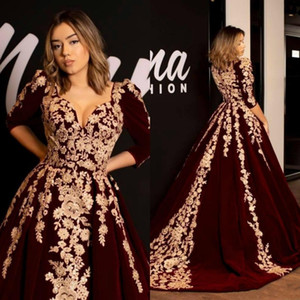 Wholesale Kaftan Caftan Burgundy Velvet Prom Dresses Evening Dress Half Sleeve Gold Luxury Lace Applique Arabic Dubai Abaya Occasion Celebrity Gowns