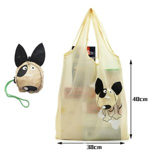 Wholesale Creative Cartoon Animal Foldable Portable Shopping Storage Bag Casual Beige Dog Pattern