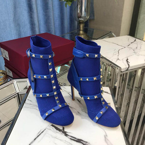 Wholesale rubber stretch belt for sale - Group buy High Heels Rivet Socks boot short Booties studded Boots belt slip on stretch knit ankle boots fashion runway shoes cm