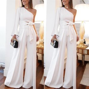 Wholesale 2019 White One Shoulder Women Pant Suits Dress Poet Long Sleeve Cutaway Sides Wide Pants Women Casual Party Dress