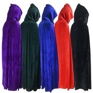 Wholesale Hooded Cloak Long Velvet Cape for Christmas Halloween Cosplay Costumes for Men and Womens