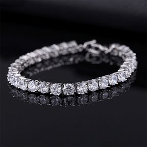 Wholesale Luxurious 4mm Cubic Zirconium Tennis Bracelet Iced Out Chain Crystal Wedding Bracelet Men's Gold And Silver Bracelet Jewelry
