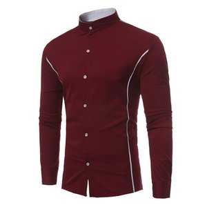 New hot sale shirt men long-sleeved shirt men's personality contrast color side strip decorative collar long-sleeved shirt 4 color S-XL Size