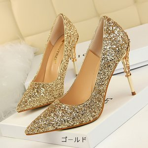Wholesale Fashion sexy nightclub women s shoes metal with stiletto high heeled shallow mouth pointed sequins