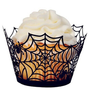a laser wrappers corte queque venda por atacado-Titulares Halloween Cupcake Wrappers Cake Decoration Muffin Caso Bandejas Spiderweb Laser Cut Paper Transatlânticos Halloween Party Decoração JK1909XB