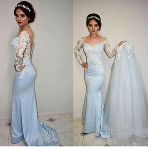 Wholesale Light Blue arabic Mermaid Evening Dresses With Detachable Overskirts romantic Lace See Through long sleeves tight formal prom dresses boho