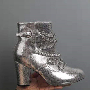 Wholesale 2019 New Leather Silver Black White Metal Texture Chain Decorative Thick With High Heel Women s Boots
