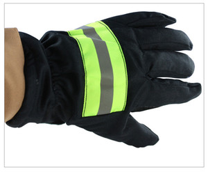 Fire Proof Gloves Wear-Resistance Non-slip Thick Safety Gloves Reflective Strap Fire Resistant Protective Gloves for Firefighter free ship