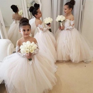 Wholesale Chic White Ball Gown Flower Girl Dresses Sheer Neck Lace kid wedding dresses pakistani Cute Lace Long Sleeve Toddler girls pageant dresses