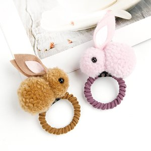 Wholesale 2019 Hair Band Cute Rabbit Style Scrunchie Ponytail Holder Hait Ties D Plush Rabbits Hairpin for Children Hair