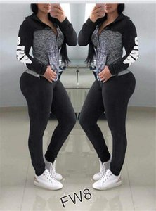 Wholesale 2019 Women Letter Printing Tracksuits Girls Long Sleeve Zipper Two Piece Sets Hoodies Leggings Casual Sportswear Jogger Suits CRZT4101