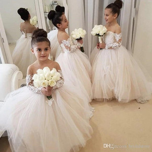 Wholesale Classy White Ball Gown Flower Girl Dresses Sheer Neck Lace kid wedding dresses pakistani Cute Lace Long Sleeve Toddler girls pageant dresses