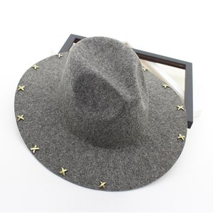 Wide Brim Wool Felt Fedora Jazz Hats Rivets Decor Women Men Panama Style Trilby Party Cowboy Cap Unisex Fashion Gambler Hat