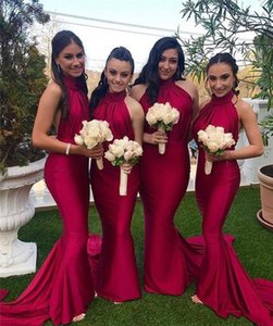 2020 Generous High Neck Slim Mermaid Long Bridesmaids Dresses Party Long Honor Of Maid Simple Spring Vestidos De Bridesmaids Party Gowns on Sale